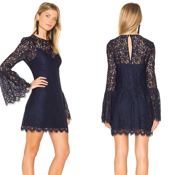 73c30d0a2a295 Rachel Zoe Dresses | Navy Blue Lace Bell Sleeve Dress Sz 6 | Poshmark